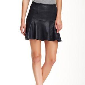 NWT David Lerner Black Faux Leather Flounce Skirt